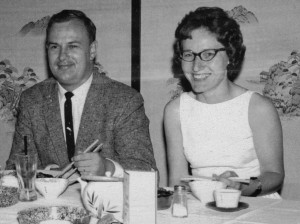 Ray and Char Maas at a Japanese restaurant in Bush Gardens, circa 1968